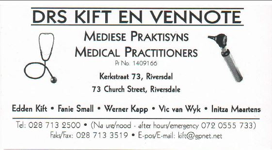 Drs Kift en Vennote-Dokters / Doctors, Medical Practitioners or General Practitioner, Physicians with a Emergency unit.