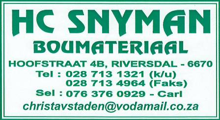 HC Snyman Boumateriaal / Building Material, hardware, electrical, sanitary and gas Suppliers.